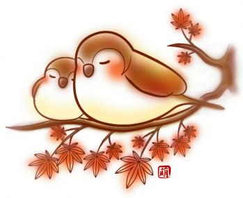 スズメと紅葉の和イラスト