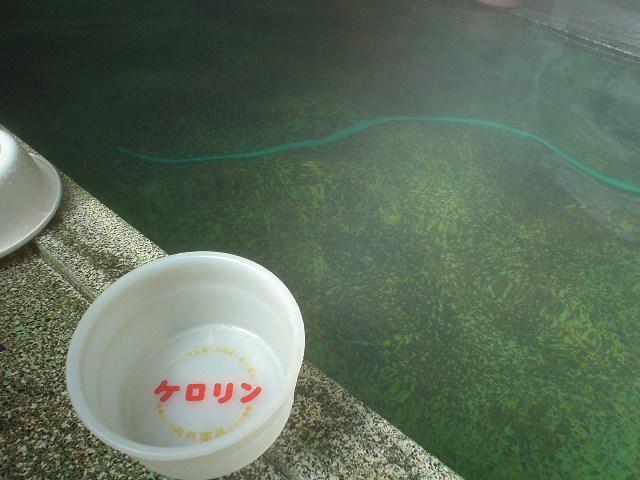 うっすら緑色に見える湯はアワアワ♪