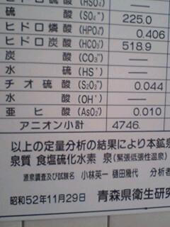 秋元温泉分析表