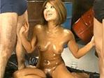 【無修正】黒澤愛希 黒光りする裸体と二本の肉棒!PornHost
