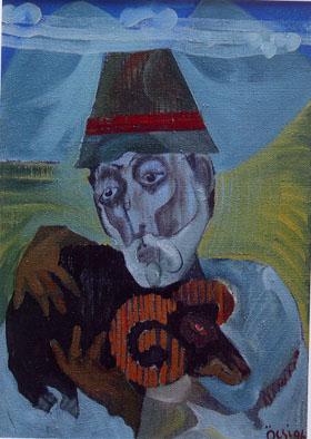 96 黒い子羊を抱いた自画像