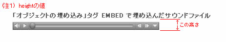 EMBED タグ height の説明