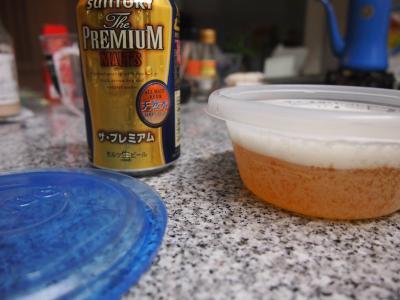 容器にビールを注ぎました