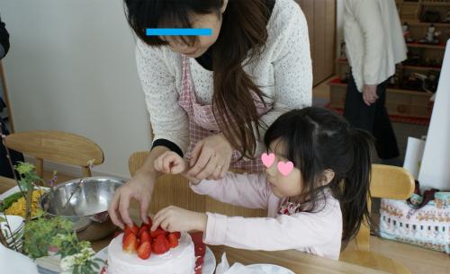 どんべとケーキ作り2
