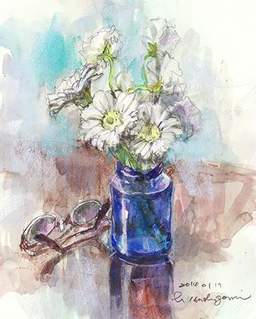 青いガラスの花