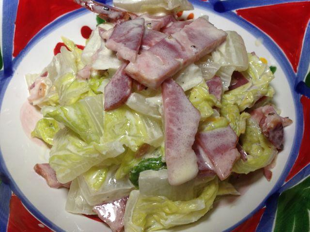 白菜とペッパーポークゆずマヨサラダ