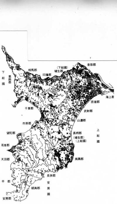 筆子塚の分布図