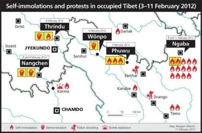 チベット2012年2月上旬焼身自殺者