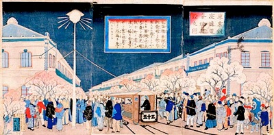 東京銀座通電気燈建設之図