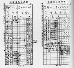 文玉珠の預金原簿