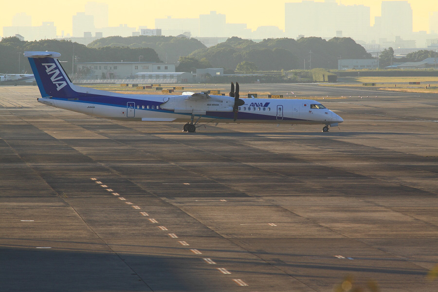 ANA WINGS DHC-8-402Q (JA844A)@下河原緑地展望デッキ