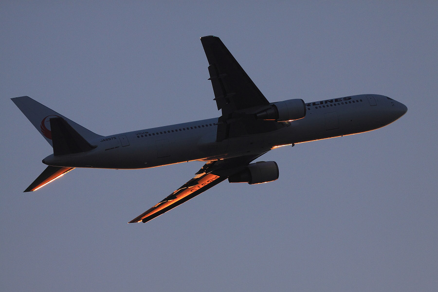 JAL B767-346 / JAL126 (JA8975)@下河原緑地展望デッキ