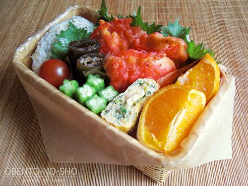 鶏の紅生姜天ぷらとしらすおむすび弁当01