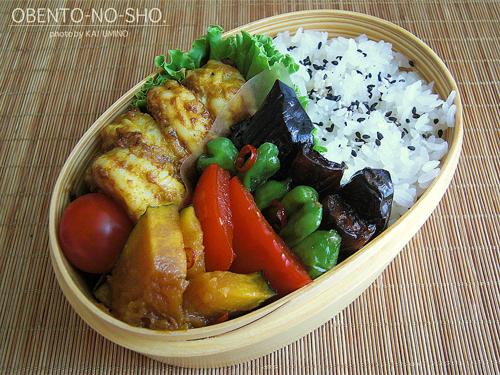 海老のタンドリー風と夏野菜の揚げ浸し弁当01