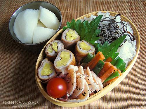 さつま芋の豚肉巻き弁当01
