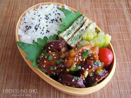 さつま芋と鶏肉のコチュジャン煮弁当01