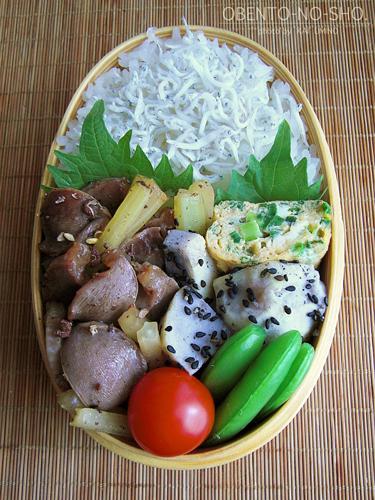 砂肝とセロリの花椒塩炒め弁当02