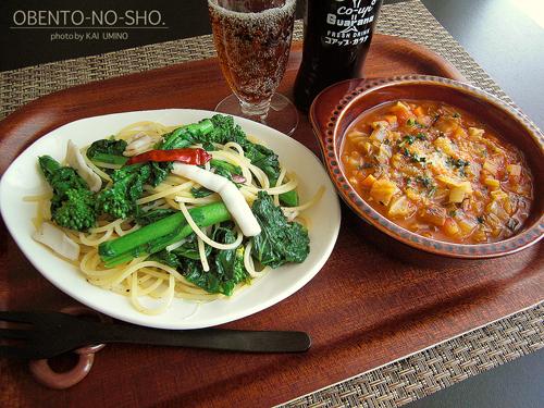 ヤリイカと菜の花のパスタのおウチご飯