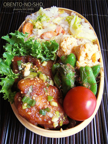 鮭と春キャベツの混ぜご飯弁当02
