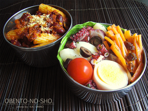 蛸とジャガ芋のサラダとチリコンカンパスタ弁当01