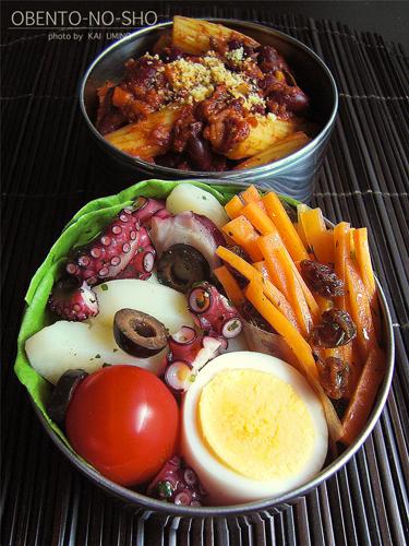 蛸とジャガ芋のサラダとチリコンカンパスタ弁当02