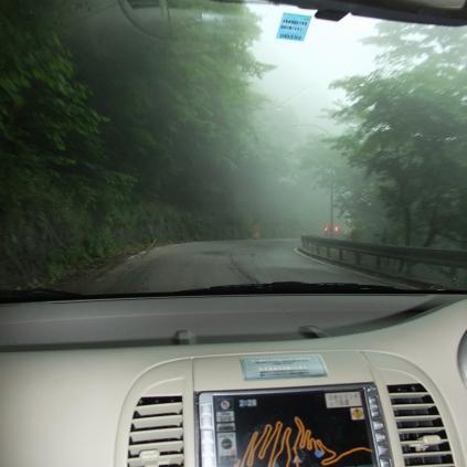 霧がすごい中禅寺湖