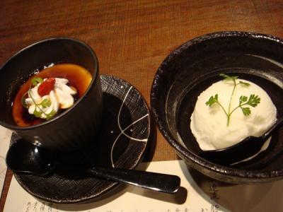 デザートの塩アイス&京番茶プリン。