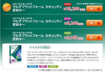 Kaspersky更新キーの値段
