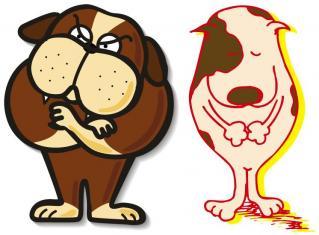 いばるブルとおじぎ犬