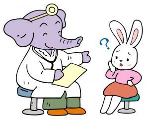 象の医師とウサギの患者