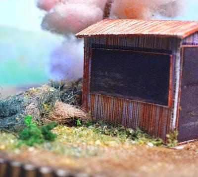 町はずれのポンプ小屋と一本桜ペーパークラフトジオラマ02