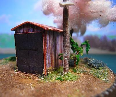 町はずれのポンプ小屋と一本桜ペーパークラフトジオラマ03