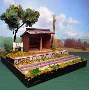 軽便鉄道停留所ペーパークラフトジオラマ短縮版01