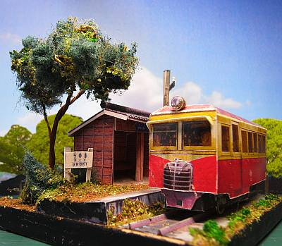 軽便鉄道停留所ペーパークラフトジオラマ短縮版02