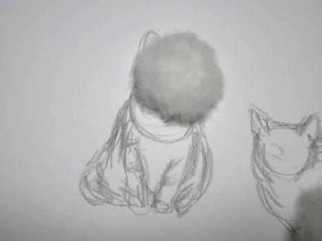 羊毛猫人形・はじめは半球