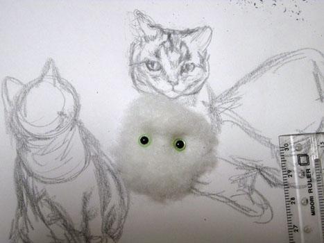 羊毛猫人形・目の貼りつけ