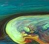 虹色に漂う土星の巨大嵐