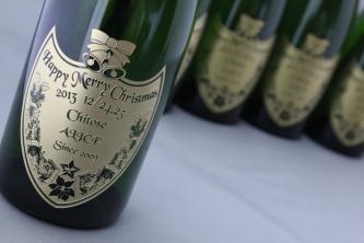 クリスマスオリジナル彫刻シャンパン2013