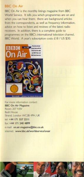 1998年3月~10月 BBC WORLD SERVICE(イギリス)スケジュール表より