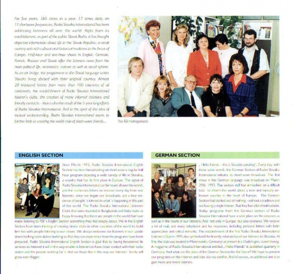 1998 RADIO SLOVAKIA INTERNATIONAL 5 years of foreign broadcasting