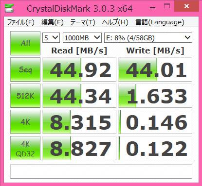 toshiba micro sdxc MUH-B064G crystaldiskmark bench 100MB