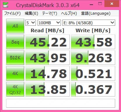 toshiba micro sdxc MUH-B064G crystaldiskmark bench 1GB
