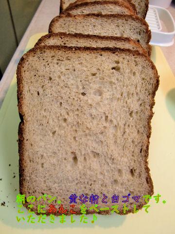 朝のパン♪あんこを塗って食べ易くしました♪うまし~♪