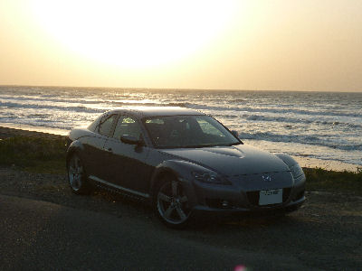 マツダRX-8と日本海の夕陽