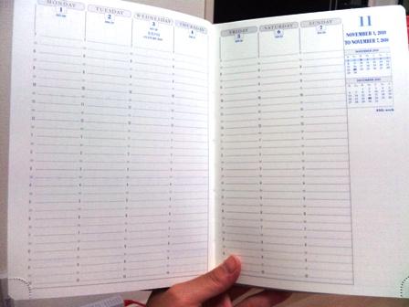 2011年の手帳 バーチカルタイプ