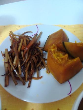 野菜づくしの夜ご飯 きんぴらとかぼちゃ