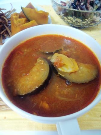 野菜づくしの夜ご飯 ナストマトカレースープ