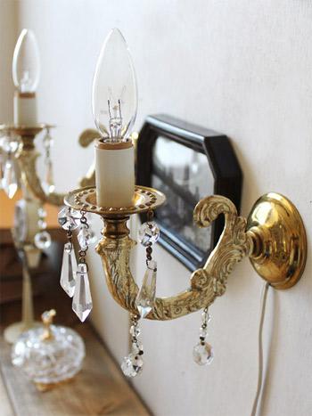 ヴィンテージプリズム付きキャンドルウォールランプ/アンティーク壁掛け照明ライト