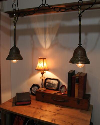 アンティーク アメリカの工業系真鍮製吊下げライトをこんな感じに使ってみては!