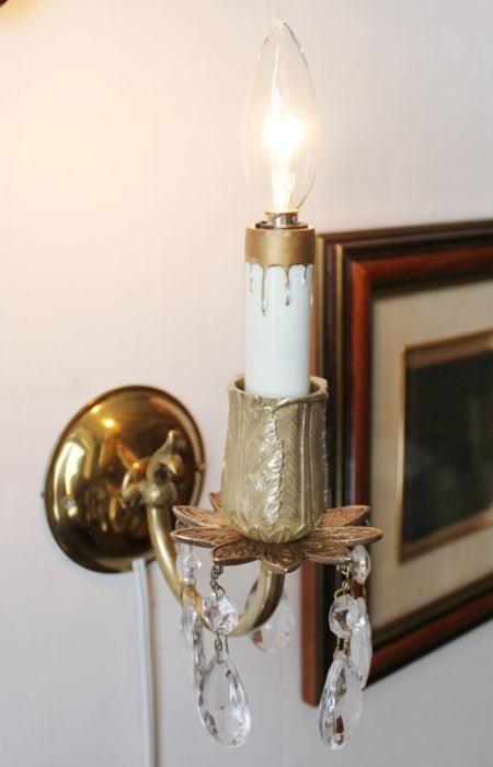 プリズム付き真鍮花飾キャンドルウォールランプ/アンティーク 2011/02/28